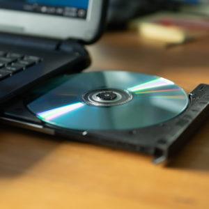 CD in the laptop cd/dvd drive